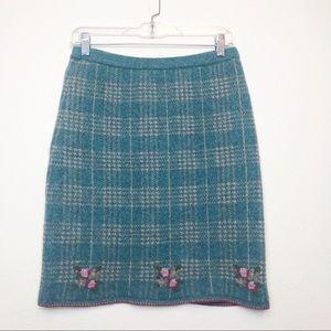 Betsey Johnson Lambs Wool Green Plaid Skirt